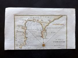 Field of Mars 1801 Hand Col Map. Bay of Gibraltar by Michelot & Bremond